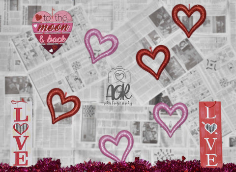 Newspaper Valentine's Day Love Backdrop for AGR Photography