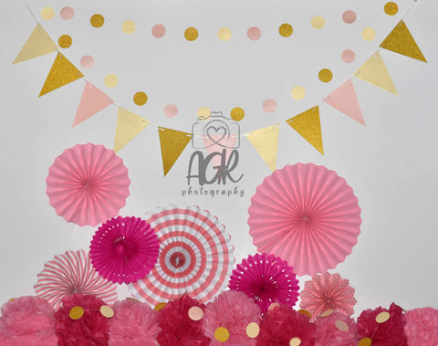 Pink and Gold Valentine's Day Backdrop for AGR Photography