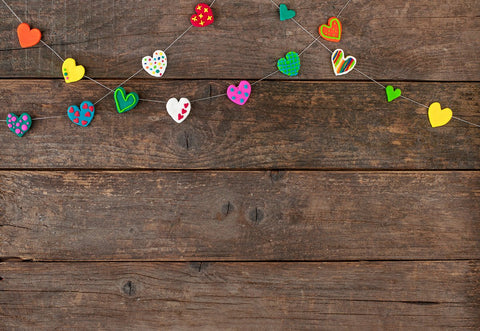 Brown Wooden Valentine Photo Backdrop