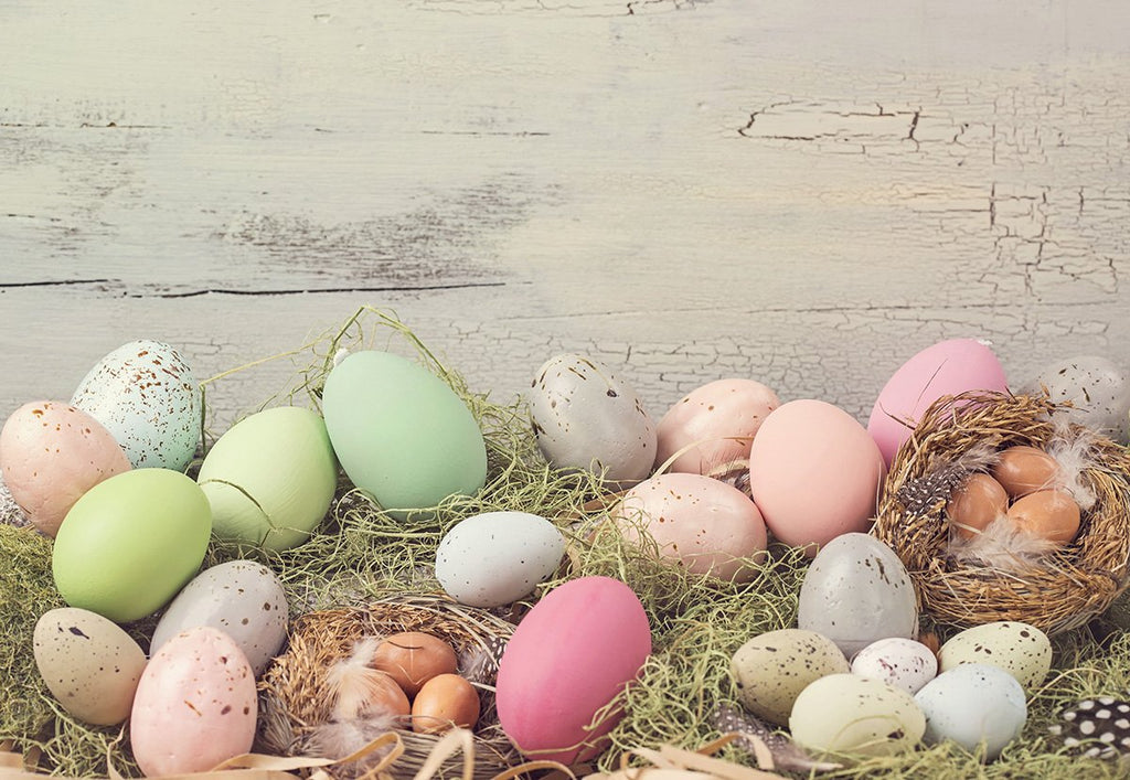 Vintage Wood Wall Easter Photography Backdrops for Photos