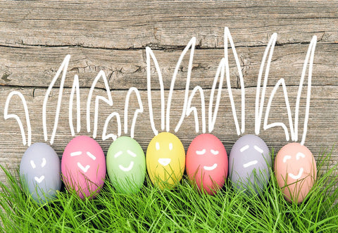Easter Grey Wood Wall Colorful Eggs Grass Backdrops for Pitures