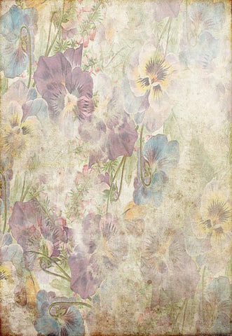 Vintage Lavender Blue Yellow Floral Flowers Backdrop for Photographyer