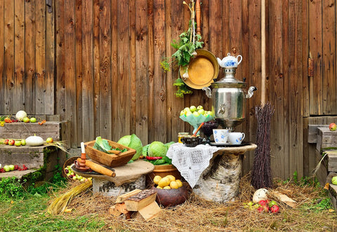Wood Barn Harvest Vegetables Fruit Straw Photo Backdrop for Photos
