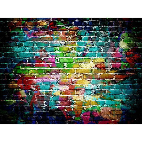 Colorful Graffiti Brick Wall Pictorial  Rubber Floor Mat