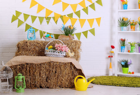 Straw Brick Wall Wood Floor Backdrops for Picture