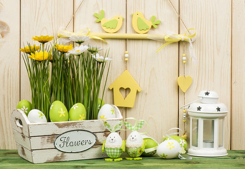 Wood  Easter Green Eggs Floral Photo Backdrop for Picture