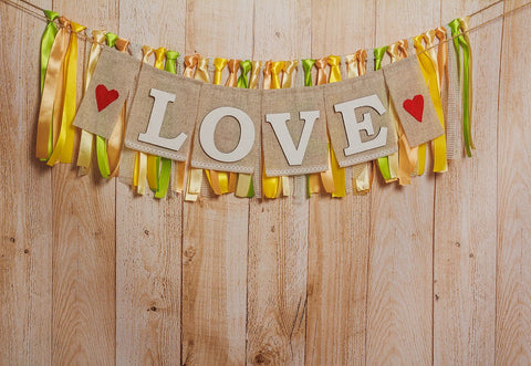 Wood Valentine's Day Love Photography Backdrops