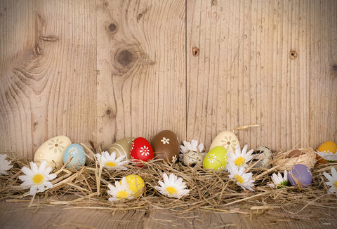 Brown Wooden Straw Eggs Photography Backdrops