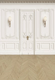 Luxurious White Wall Door Wedding Light Brown Wood Floor Backdrop for Photo