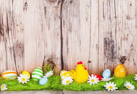 Wooden Wall Grass Happy Easter Backdrop for Photo