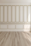 Beige Wall Wood Floor Photo Booth Prop Backdrops for Wedding
