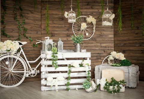 Brown Wood Wall Spring Garden Flowers Photography Backdrops