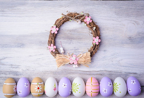 Lavender Easter Wood Wall Eggs Wreath Backdrop for Picture