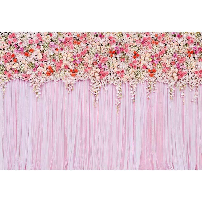 Pink Floral Wall Weddings Newborns Portraits Photography Backdrop