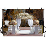 Romantic White Lace Curtain With Flowers Backdrop for Weeding Ceremony Photography
