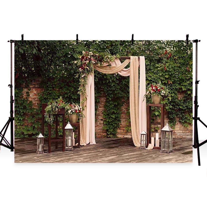 White Lace Curtain Green Leaves Backdrop for Weeding Ceremony Photography