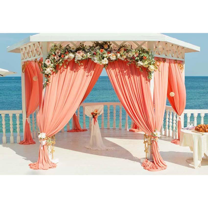 Beautiful Orange Curtain Pavilion Floral Decoration Backdrop for Seaside Weeding Ceremony Photography