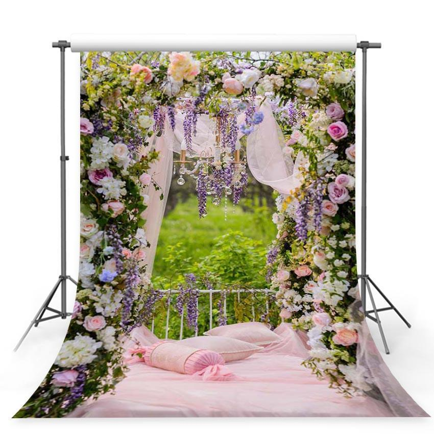 Pink bed Floral Decorations Curtain Photo Backdrop for Spring Season Photography
