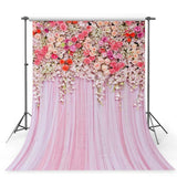 Pink Hanging Flowers Wall Rose Curtain Backdrop for Weeding Party Photography