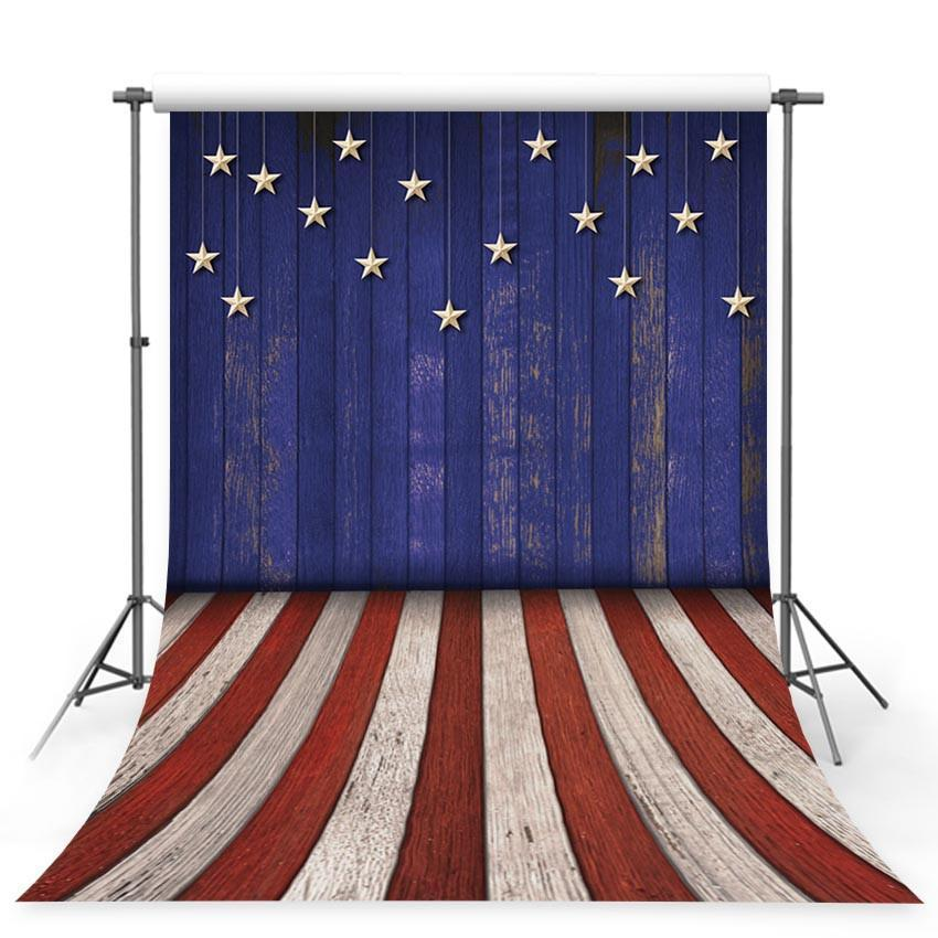 Wood Floor Backdrop America Flag Pattern Photography Background