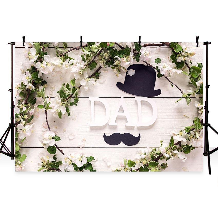 Father's Day Backdrop White Flower Decoration Photography Background