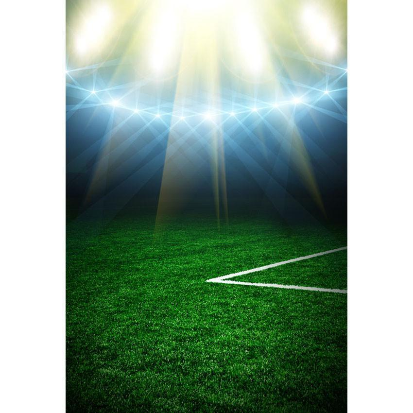 Green Grassland Bright Lights Backdrop Football Field Photography Background