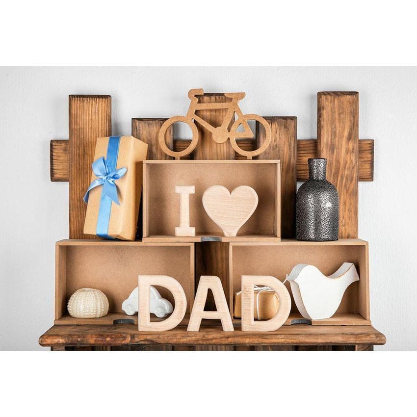 I Love Dad Wood Backdrop Happy Father's Day Photography Background