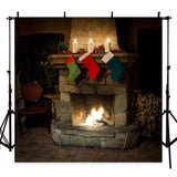 Christmas Theme Stove Sock Fireplace Gift Backdrop for Pictures Decorations Photography