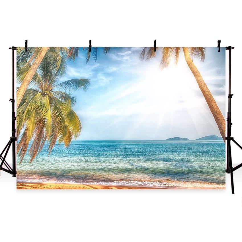 Blue Sea Summer Sunshine Coconut Tree Backdrop Vacation Scenery Photography Backgrounds