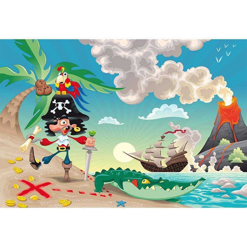 Cartoon Pirates of The Caribbean Backdrop for Baby Show Photography
