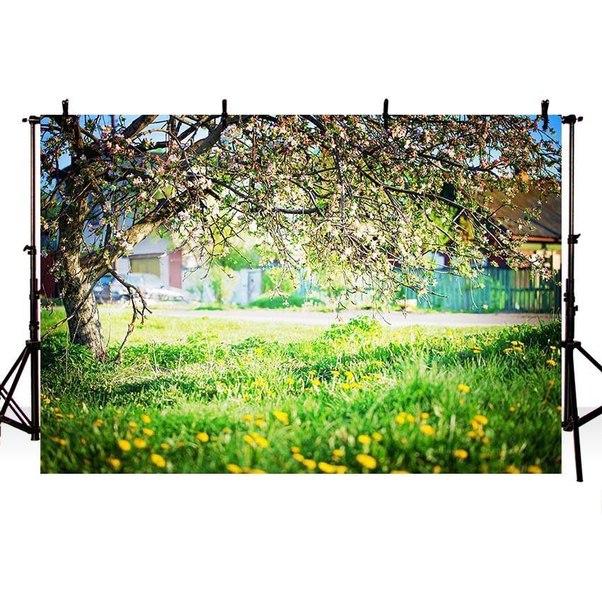 Blooming Flowers Green Grass Floor Backdrops for Spring Photography