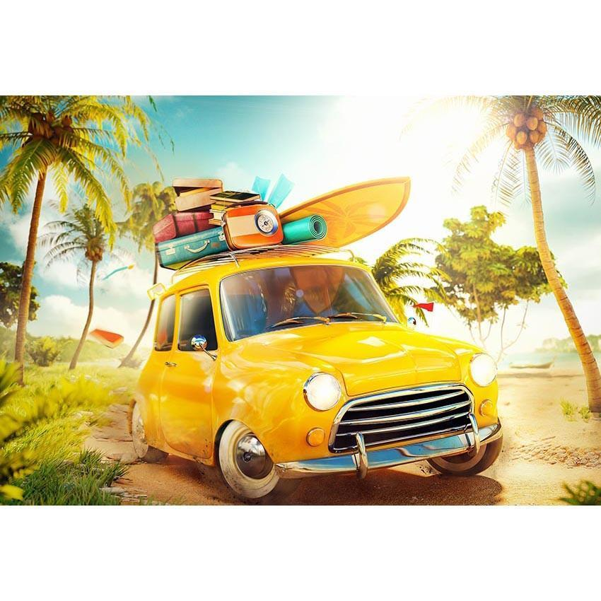 Seaside Sunshine Yellow Car Backdrops Sea Summer Photography Background