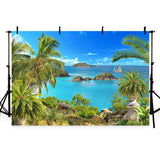 Beautiful Sea and Beach Blue Sky Landscape Backdrop for Summer Sea Theme Photography