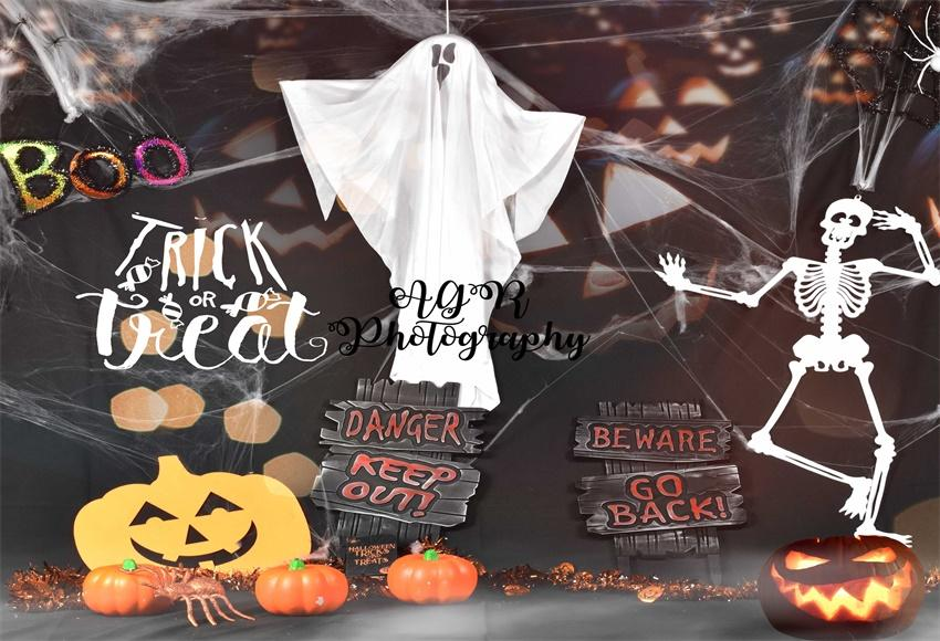 Halloween Ghost Thick or Treat Backdrop for AGR Photography