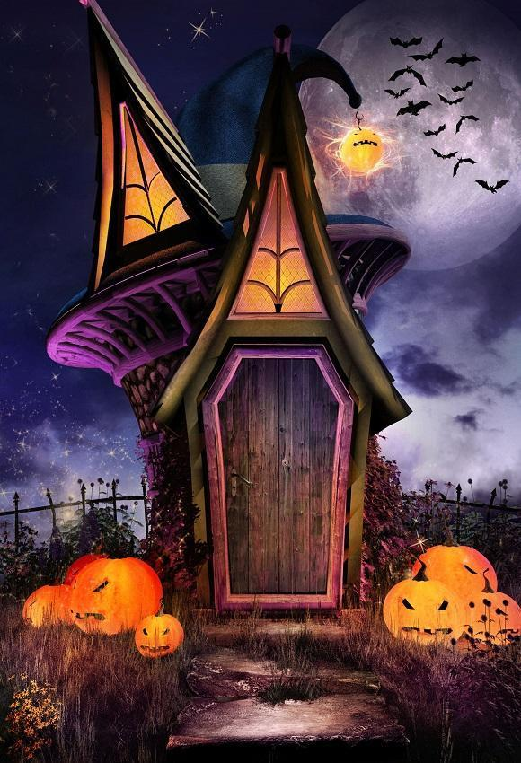 Magic House Purple Pumpkin Halloween Photography Backdrop for Party