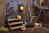 Wooden Magic Spider Web Halloween Backdrop