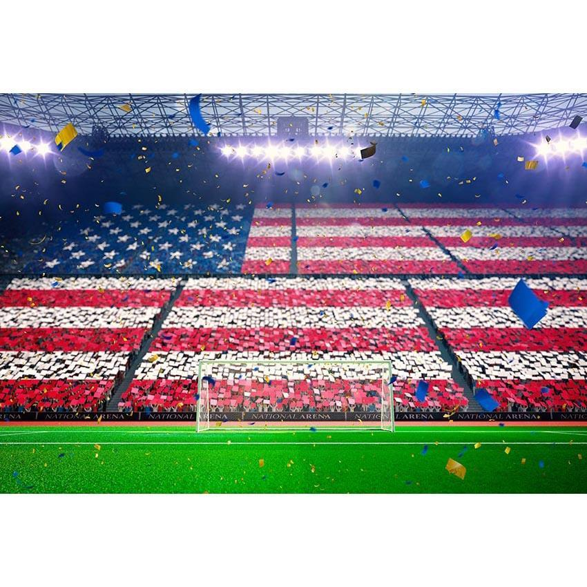 Stadium American Flag Crowd Backdrop Football Field Photography Background