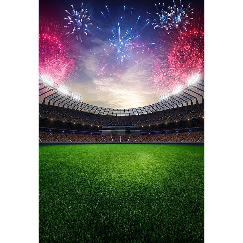 Stadium with Fireworks Backdrop Football Field Sports Photography Background