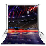Night Stadium Wood Floor Backdrop Basketball Field Photography Background