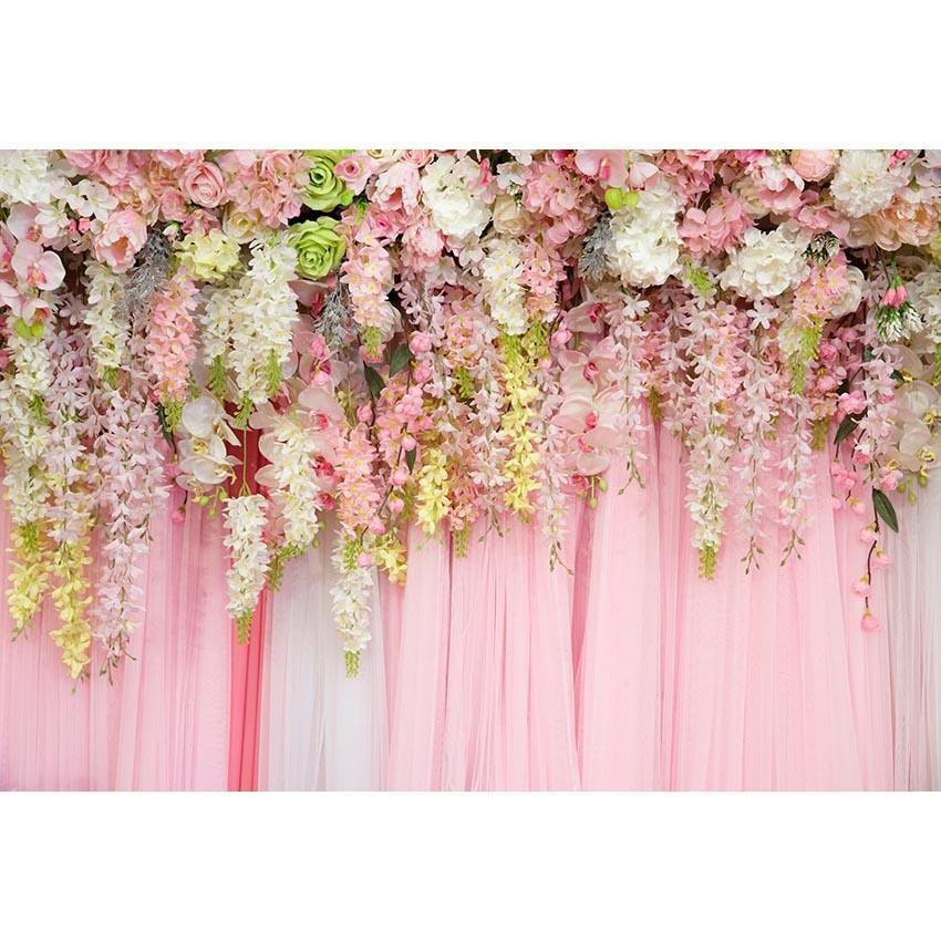 Pink Curtain with Pink White Flowers Backdrop for Party Decoration Background