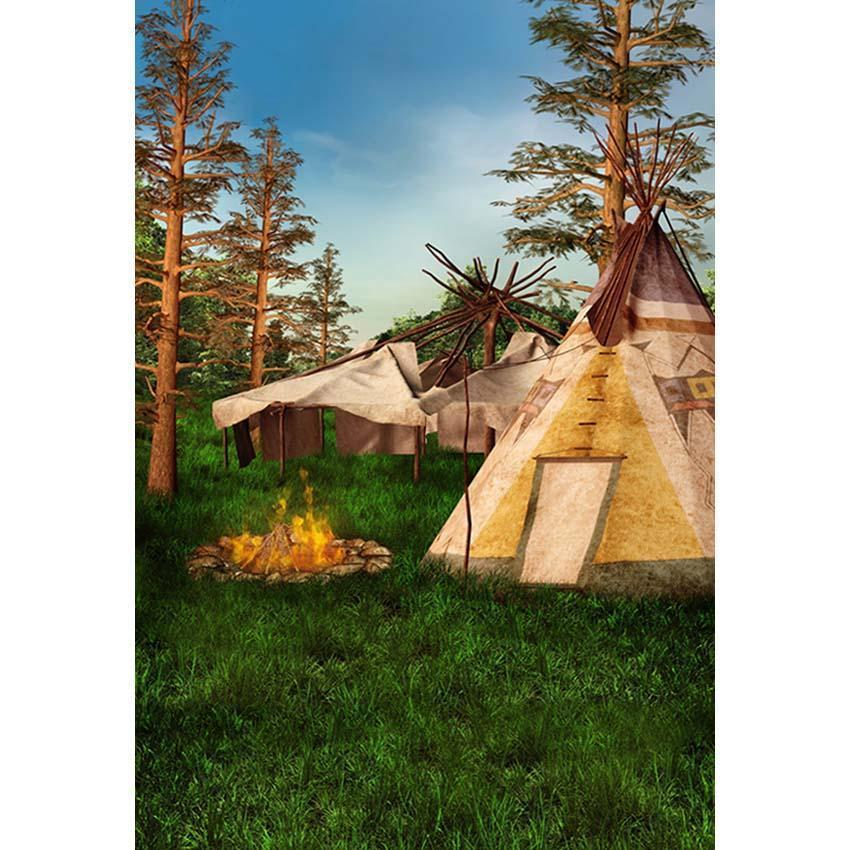 Fire Camping Tent Backdrop Summer Forest Photograph Background