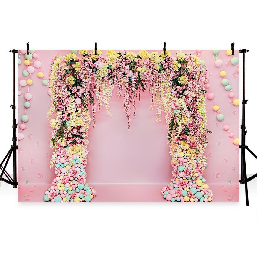 Flowers Decoration Backdrop Valentine's Day Floral Photography Background
