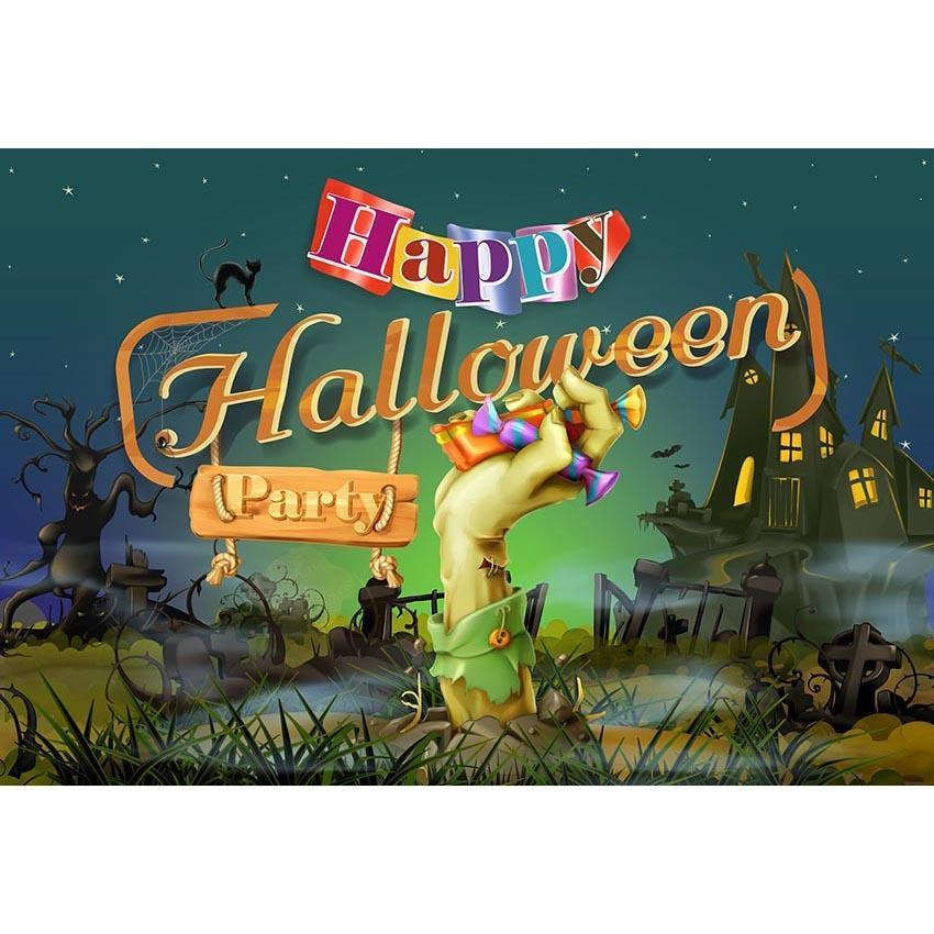 Night Castle Backdrop Halloween Party Photography Background