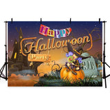 Night Castle With Pumpkin Backdrop Halloween Party Photography Background