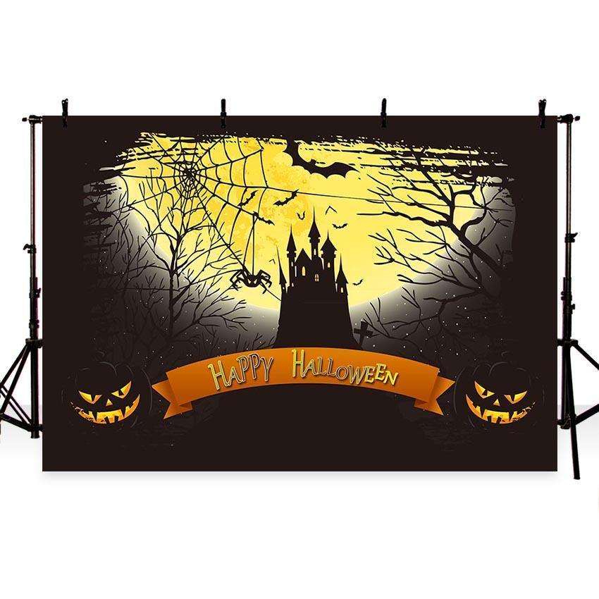 Dark Castle Under Moonlight Backdrop Halloween Photography Background