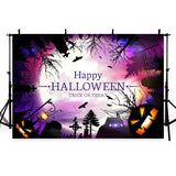 Big Bright Moon Night Castle Backdrop Happy Halloween Photography Background