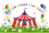 Spring Circus Carnival Balloon Birthday Backdrop