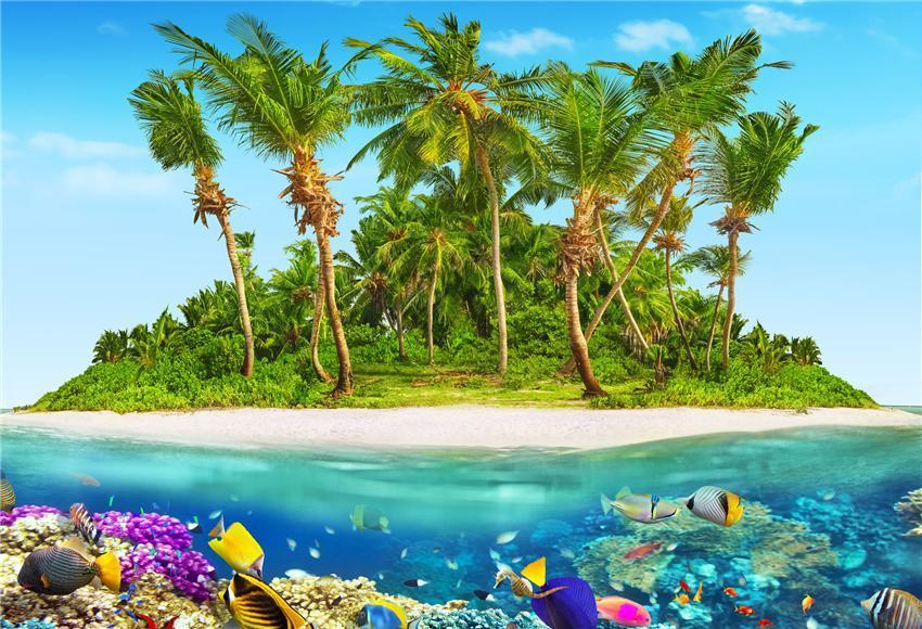 Tropical Beach Undersea Photography Backdrops