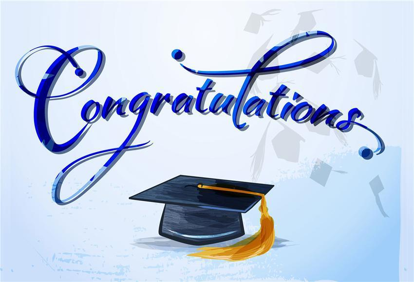 Blue Congratulations Bachelor Cap Backdrop for Students