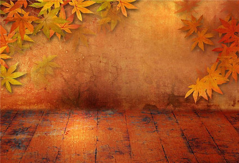 Abstract Autumn Wood Floor Maple Leaves Backdrops
